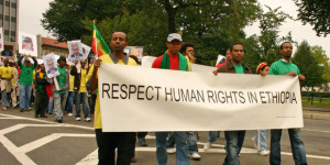 Protesters call on the Ethiopian government to respect human rights, Washington DC, USA, 23 September 2006 The banner says: Respect human rights in Ethiopia